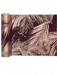 Runner da tavola in cotone viola foglie oro rosa