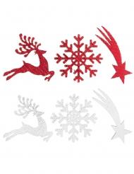 12 coriandoli bianchi e rossi villaggio natalizio