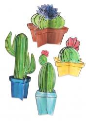 4 centrotavola 3D in cartone cactus
