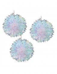 3 sospensioni sfere in carta alveolata iridescenti