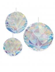 3 sfere in carta iridescenti