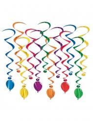 12 sospensioni a spirale palloncini multicolor