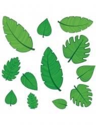 12 decorazioni in cartone foglie verdi