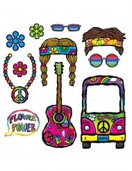 Kit photobooth anni '60 hippie 11 accessori