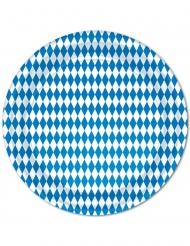 8 piatti in cartone Oktoberfest blu e bianchi 23 cm