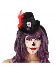 Mini cappello a cilindro nero dia de los muertos adulto