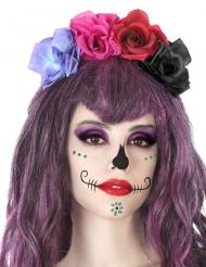 Cerchietto fiori multicolori Dia de los Muertos adulto