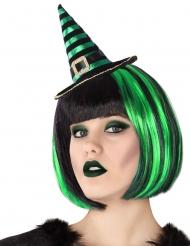 Cerchietto con mini cappello da strega verde e nero adulto