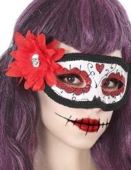 Maschera fiore rosso Dia de los Muertos adulto
