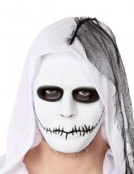 Maschera bianca con bocca cucita adulto