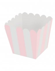 12 mini scatole da pop corn a righe rosa e bianche