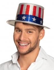 Cappello a cilindro USA con brillantini adulto
