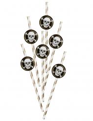 6 cannucce in cartone pirati nero e oro