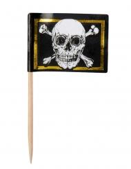 24 stecchini decorativi pirati nero e oro