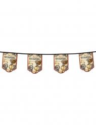 Ghirlanda con 11 bandierine in cartone Steampunk