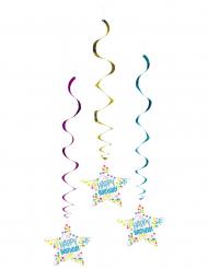 3 Decorazioni da sospendere Happy Birthday coriandoli pastello