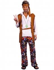 Costume da hippie marrone e bianco taglie forti adulto