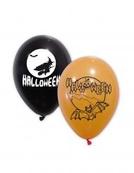 10 palloncini in lattice neri e arancioni Halloween