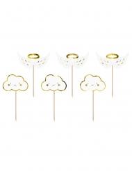 6 decorazioni per torte nuvole e ali bianche e oro