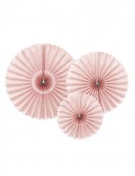 3 rosoni di carta color rosa cipria
