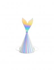 6 cappellini per festa iridescenti coda da sirena