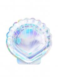 6 piatti in cartone conchiglia iridescente 18 cm