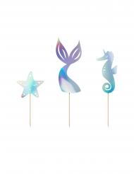 3 decorazioni per torte sirena iridescenti