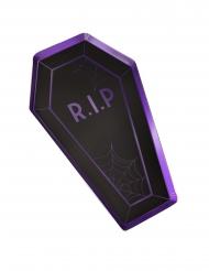 8 Piatti in cartone Bara nera e viola 30 x 18 cm