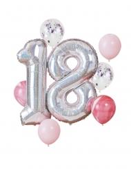 Kit palloncini 18 anni rosa e argento