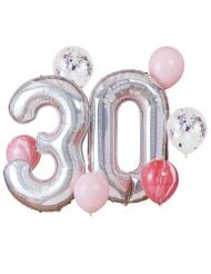Kit palloncini 30 anni rosa e argento
