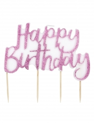 Candelina Happy Birthday bianca con brillantini rosa