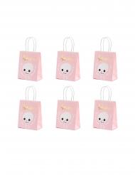 6 sacchetti regalo rosa con scheletro