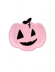6 piatti in cartone zucca rosa e nera 22 cm