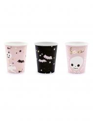 6 Bicchieri in cartone Halloween rosa e nero