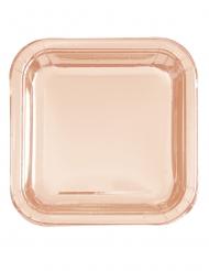 8 piatti quadrati oro rosa 23 cm