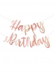 Ghirlanda Happy Birthday oro rosa