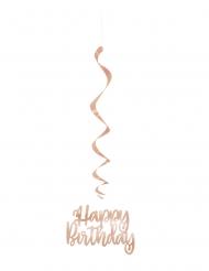 3 Sospensioni a spirale Happy Birthday oro rosa