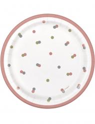 8 piattini in cartone Happy Birthday bianco e rosa 18 cm