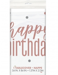 Tovaglia in plastica Happy Birthday bianco e rosa