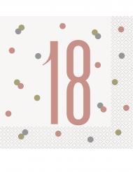 16 Tovaglioli in carta 18 anni bianco e rosa 33 cm