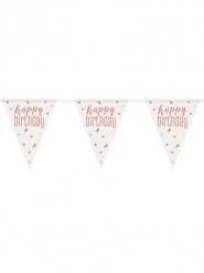 Ghirlanda di bandierine bianche Happy Birthday rosa