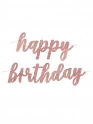 Ghirlanda Happy Birthday brillantini oro rosa