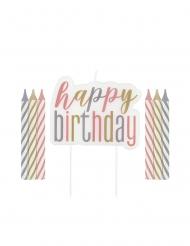 Candeline Happy Birthday con decorazione color pastello