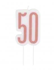 Candelina di compleanno 50 anni rosa