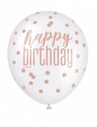 6 palloncini in lattice bianchi e rosa Happy Birthday