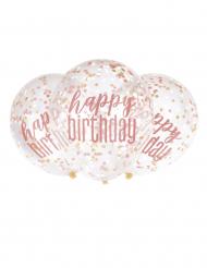 6 palloncini trasparenti Happy Birthday coriandoli rosa
