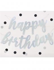 Ghirlanda in cartone Happy Birthday argento con brillantini