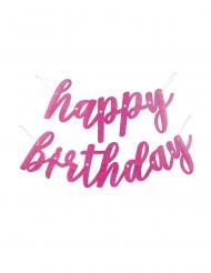 Ghirlanda in cartone Happy Birthday rosa con brillantini