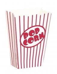 8 Piccole scatole popcorn a righe bianche e rosse