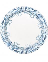 8 piatti in cartone coralli blu 23 cm